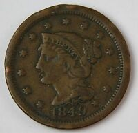 1849 BRAIDED HAIR LARGE CENT GOOD CHOCOLATE COLOR NICE EVEN WEAR VF 237