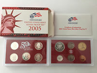 2005 S US MINT SILVER PROOF 11 COIN SET W/BOX AND COA