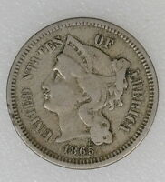 1865 VG CONDITION 3CN THREE CENT NICKEL. CIVIL WAR DATE NICE COLOR   I 6189 F