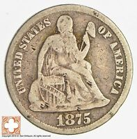 1875 SEATED LIBERTY SILVER DIME 3239