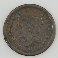 1846 BRAIDED HEAD LARGE CENT DETAILS ON OBVERSE/REVERSE Z55