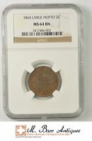 MINT STATE 64 BN 1864 TWO CENT PIECE - LARGE MOTTO - GRADED NGC 2286