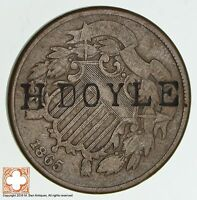 1865 TWO CENT PIECE H DOYLE COUNTER STAMP 1455