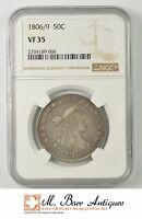 VF35 1806/9 DRAPED BUST HALF DOLLAR INVERTED 6 - GRADED NGC 2281