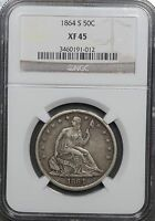 1864 S SEATED LIBERTY HALF DOLLAR NGC XF45