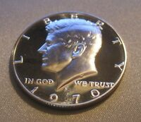 1970 S CAMEO PROOF KENNEDY HALF DOLLAR // BRIGHT & SHINY // 40 SILVER // MC 208