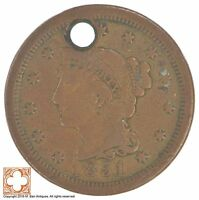 1851 BRAIDED HAIR LARGE CENT CONDITION: HOLE XB92