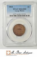 MINT STATE 64 RB 1864 TWO CENT PIECE - LARGE MOTTO - GRADED PCGS 2297