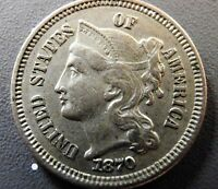 1870 NICKLE 3 CENT PIECE VERY NICE WELL DETAILED COIN NICE LOOK CLOSELY