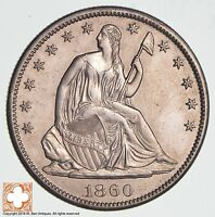 1860 S SEATED LIBERTY SILVER HALF DOLLAR 1139
