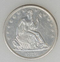 1871 S AU COND. SEATED LIBERTY HALF DOLLAR. GREAT STRIKE. CLEANED   I 6442 F