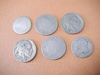 6 COINS 1934 1937 BUFFALO NICKEL 1905 1908 V NICKEL 1827 1836 CAPPED BUST DIME