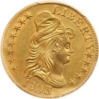 1803/2 DRAPED BUST 5.00 GOLD HALF EAGLE,PCGS GRADED AU DETAILS REALLY NICE COIN