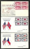 12 UNITED STATES YEAR 1930'S & 1940'S FDC FIRST DAY COVERS ALL BLOCKS & PLATES