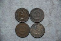 1864-1872 TWO CENTS PIECES- LOT OF 4- 1864, 1865, 1869, 1870