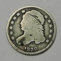 1830 CAPPED BUST SILVER DIME. SOLID GOOD. BELOW WHOLESALE