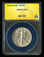 1940 S US 50C LIBERTY WALKING HALF DOLLAR COIN ALMOST UNC ABOUT ANACS AU 50 NQ