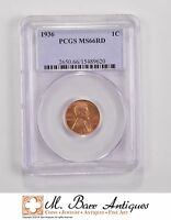 MS66RD 1936 LINCOLN WHEAT CENT   GRADED PCGS 5681