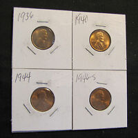 LOT OF 4 HIGH GRADE LINCOLN WHEAT CENTS   1936 1940 1944 1946 S