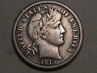 1913 SILVER BARBER DIME   LIBERTY IN HEADBAND    12 PHOTOS  E