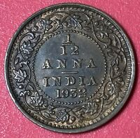 1932 INDIA 1/12 ANNA WORLD FOREIGN COIN EXCELLENT CONDITION