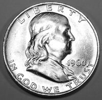 1960 D FRANKLIN SILVER HALF DOLLAR  BRILLIANT WHITE COIN WITH GREAT BELL LINES