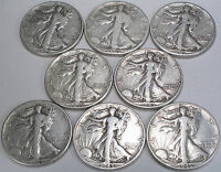 LIBERTY WALKING HALF DOLLARS   SET OF 8 FROM THE PHILADELPHIA MINT   1939 1946