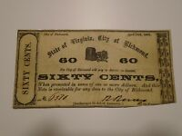 1862 CIVIL WAR SIXTY CENT STATE OF VIRGINIA CITY OF RICHMOND OBSOLETE BANK NOTE