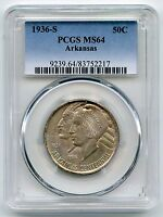 1936-S ARKANSAS CENTENNIAL HALF DOLLAR PCGS MINT STATE 64 COMMEMORATIVE COIN - AK985