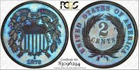 1873 PF TWO-CENT CLOSED 3 PCGS PR65BN -RAINBOW TONED -REGISTRY COIN/600 MINTED