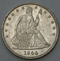 1844 SEATED LIBERTY HALF EXTRA FINE XF SILVER US COIN CLEANED