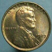 1929 LINCOLN CENT   CHOICE BU   RED VIOLET YELLOW AND GREEN TONING