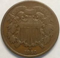 1866 2C TWO CENT PIECE
