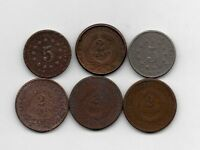LOT OF 6 SHIELD NICKEL AND 2 TWO CENT PIECE 1864 1865 1868