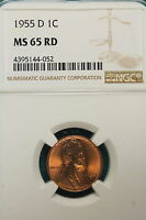 1955 D NGC MS65 RED LINCOLN WHEAT CENT A6870
