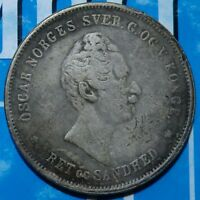 1846 NORWAY OSCAR 1 SPS THALER IMPERIAL OLD SILVER COIN