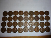 1955 D DENVER MINT CENT LINCOLN WHEAT PENNY LOT OF 36 FROM OLD COLLECTION