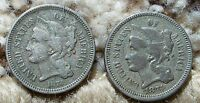 2 OLD U.S. NICKEL THREE CENT PIECES 3 CENTS 3C 1873 1874