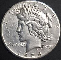 1928   P PEACE SILVER DOLLAR  VF/XF DETAILS KEY DATE COIN MINTAGE 360,649