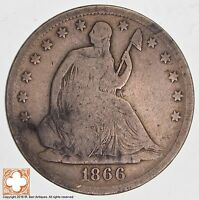 1866 S SEATED LIBERTY SILVER HALF DOLLAR 6522