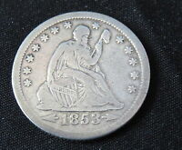 1853 O  SILIVER QUAR./ DOLLAR COMPLET  LIBERTY SHOWING WITH RAYSARROWS