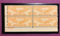 TDSTAMPS: US AIRMAIL STAMPS SCOTTC19 MINT NH OG BLOCK OF 4 W/PLATE