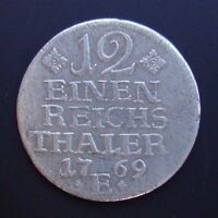 GERMAN STATES PRUSSIA 1/12 THALER 1769 E SILVER COIN S5