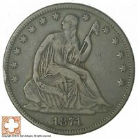 1871 SEATED LIBERTY SILVER HALF DOLLAR 6154