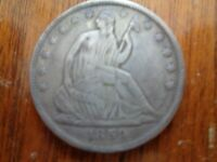 1859 S SEATED LIBERTY HALF DOLLAR FINE KEY DATE FREE FAST SHIPPING  COIN