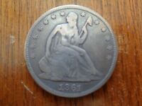 1861 SEATED LIBERTY HALF DOLLAR FINE KEY DATE FREE FAST SHIPPING  COIN