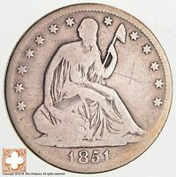 1851 O SEATED LIBERTY SILVER HALF DOLLAR 2522