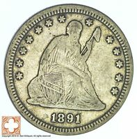 1891 SEATED LIBERTY SILVER QUARTER 590
