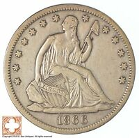 1866 S SEATED LIBERTY SILVER HALF DOLLAR XB72