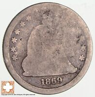 1869 SEATED LIBERTY SILVER QUARTER HIGH DATE 2578